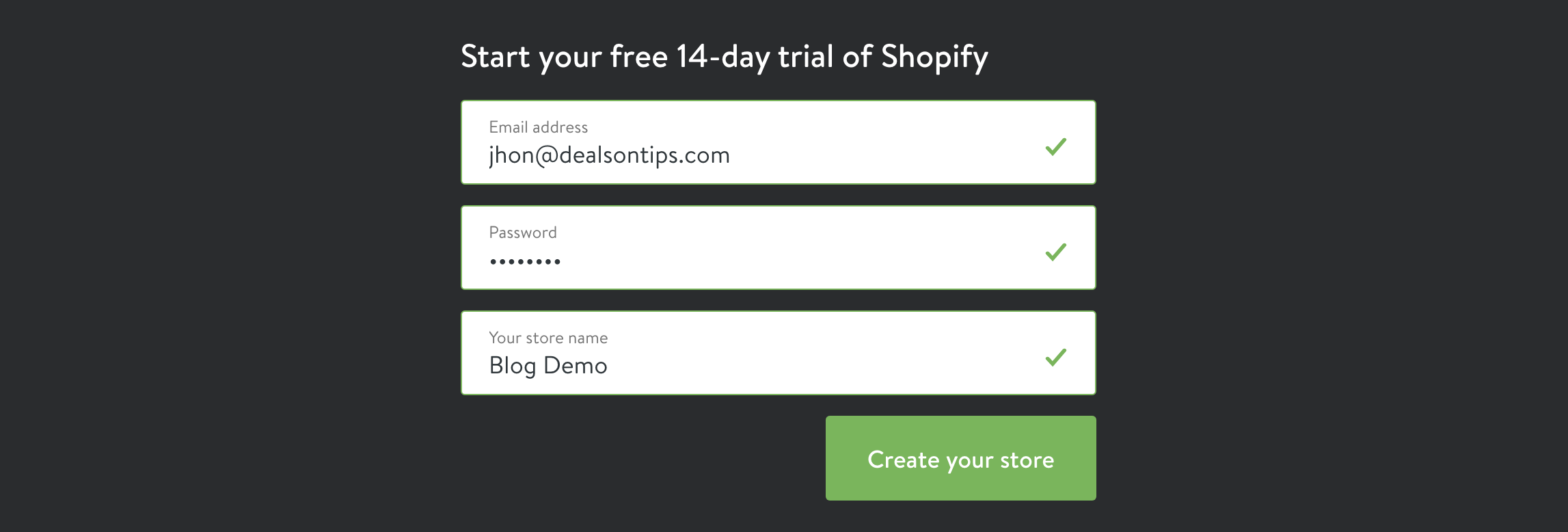 Shopify Create store two