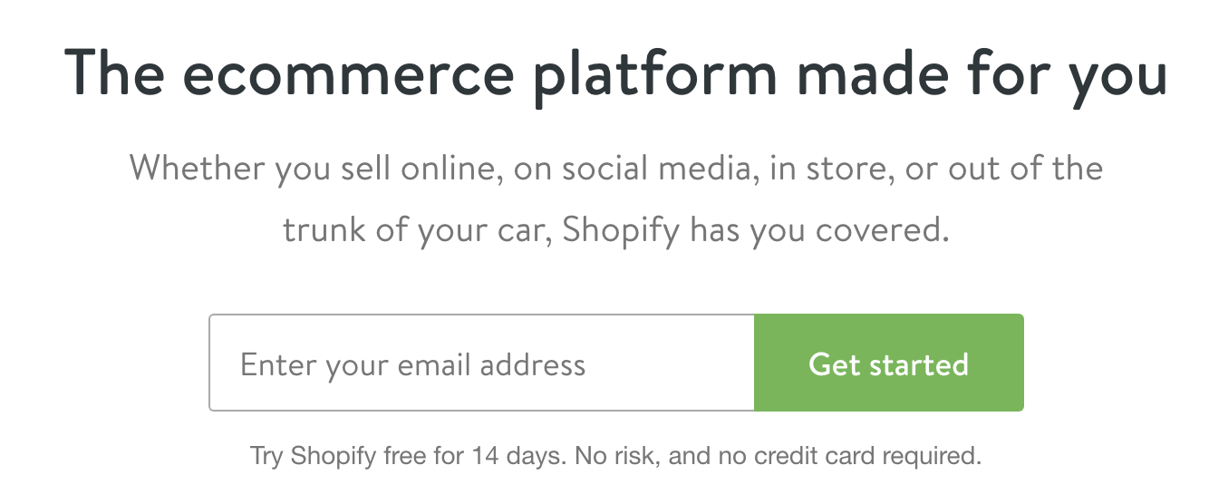 Shopify Create store one